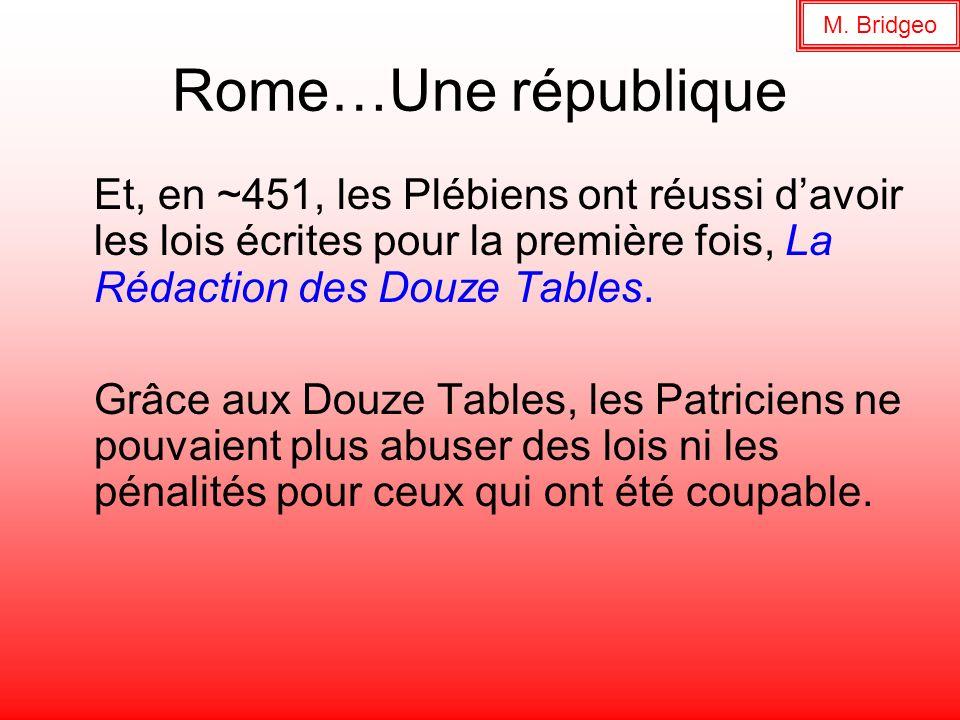Rome…Une république Et, en ~451, les Plébiens ont réussi davoir les lois écrites pour la première fois, La Rédaction des Douze Tables. Grâce aux Douze