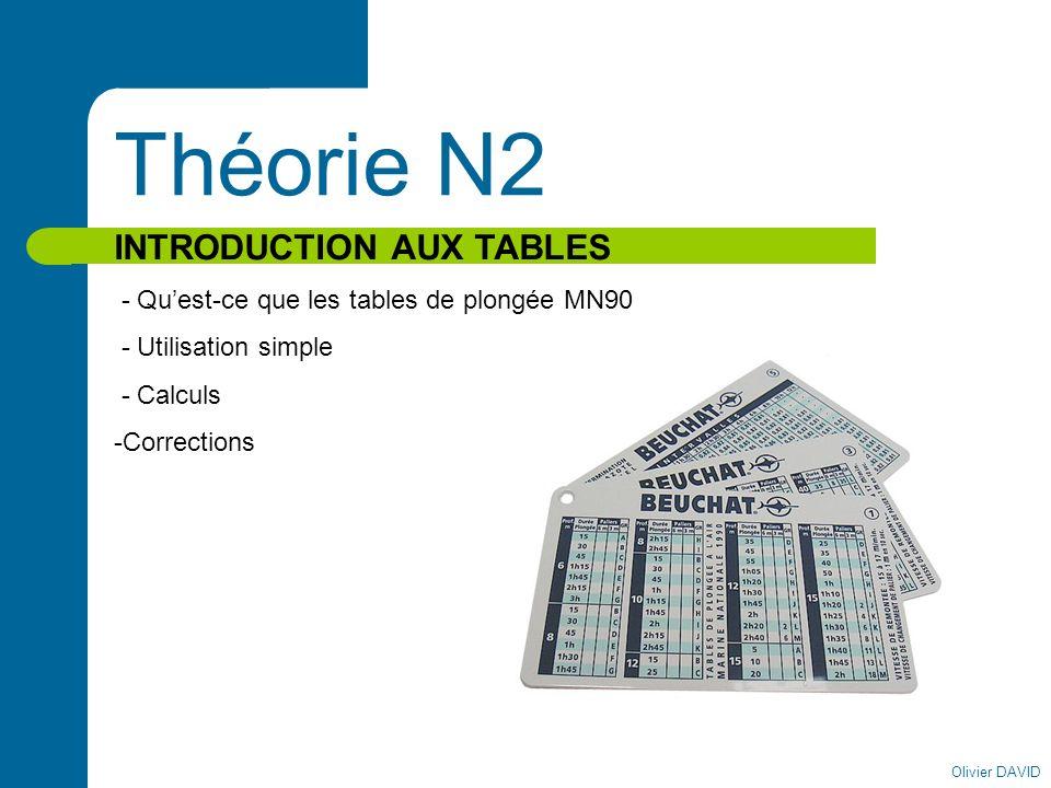 Olivier DAVID Théorie N2 INTRODUCTION AUX TABLES - Quest-ce que les tables de plongée MN90 - Utilisation simple - Calculs -Corrections