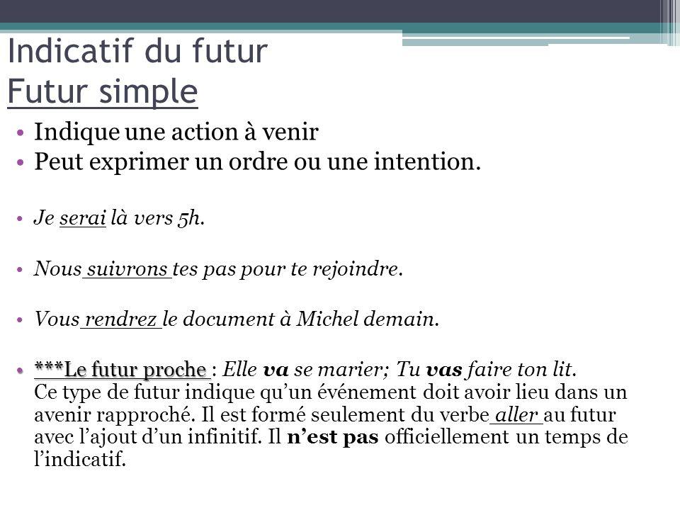 Indicatif du futur Futur simple Indique une action à venir Peut exprimer un ordre ou une intention. Je serai là vers 5h. Nous suivrons tes pas pour te