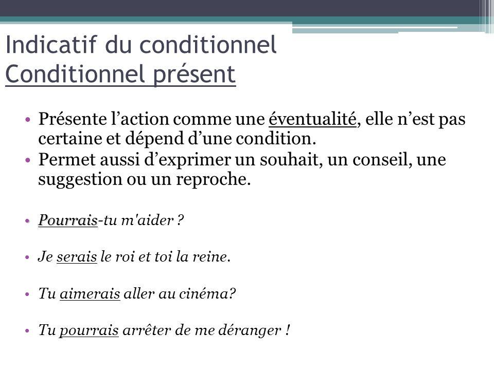 Indicatif du conditionnel Conditionnel présent Présente laction comme une éventualité, elle nest pas certaine et dépend dune condition. Permet aussi d