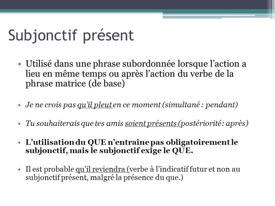 Subjonctif présent Utilisé dans une phrase subordonnée lorsque laction a lieu en même temps ou après laction du verbe de la phrase matrice (de base) J