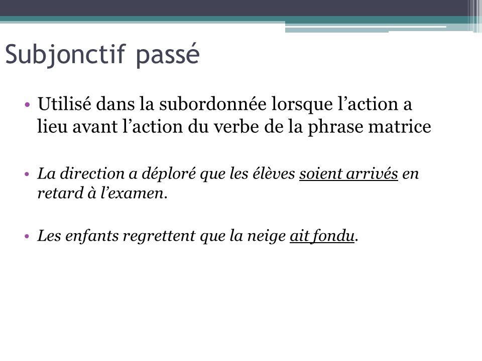 Subjonctif passé Utilisé dans la subordonnée lorsque laction a lieu avant laction du verbe de la phrase matrice La direction a déploré que les élèves