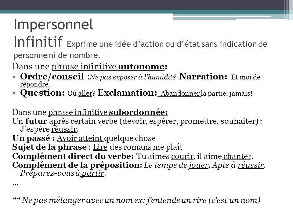 Impersonnel Infinitif Exprime une idée daction ou détat sans indication de personne ni de nombre. Dans une phrase infinitive autonome: Ordre/conseil :