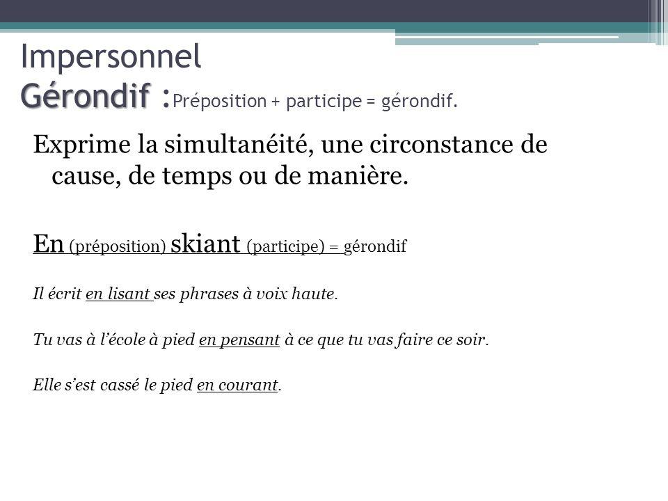 Gérondif Impersonnel Gérondif : Préposition + participe = gérondif. Exprime la simultanéité, une circonstance de cause, de temps ou de manière. En (pr