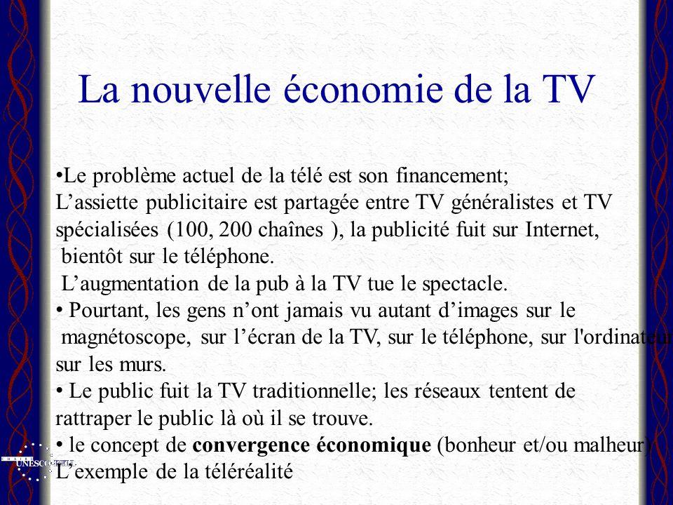 La nouvelle économie de la TV Le problème actuel de la télé est son financement; Lassiette publicitaire est partagée entre TV généralistes et TV spécialisées (100, 200 chaînes ), la publicité fuit sur Internet, bientôt sur le téléphone.
