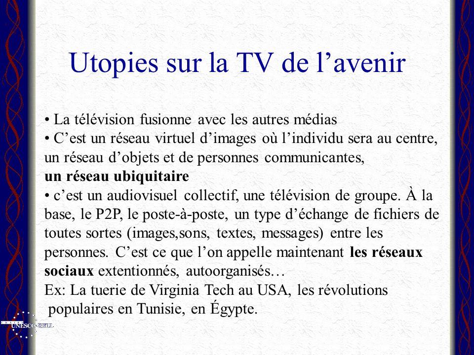 Utopies sur la TV de lavenir La télévision fusionne avec les autres médias Cest un réseau virtuel dimages où lindividu sera au centre, un réseau dobjets et de personnes communicantes, un réseau ubiquitaire cest un audiovisuel collectif, une télévision de groupe.