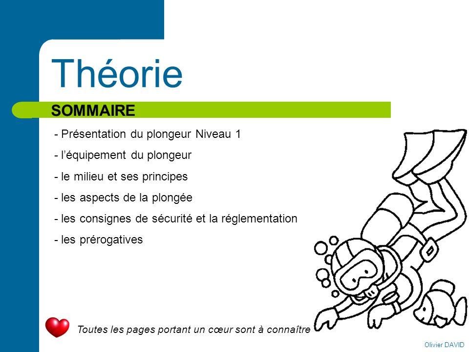 Olivier DAVID Théorie SOMMAIRE - Présentation du plongeur Niveau 1 - léquipement du plongeur - le milieu et ses principes - les aspects de la plongée