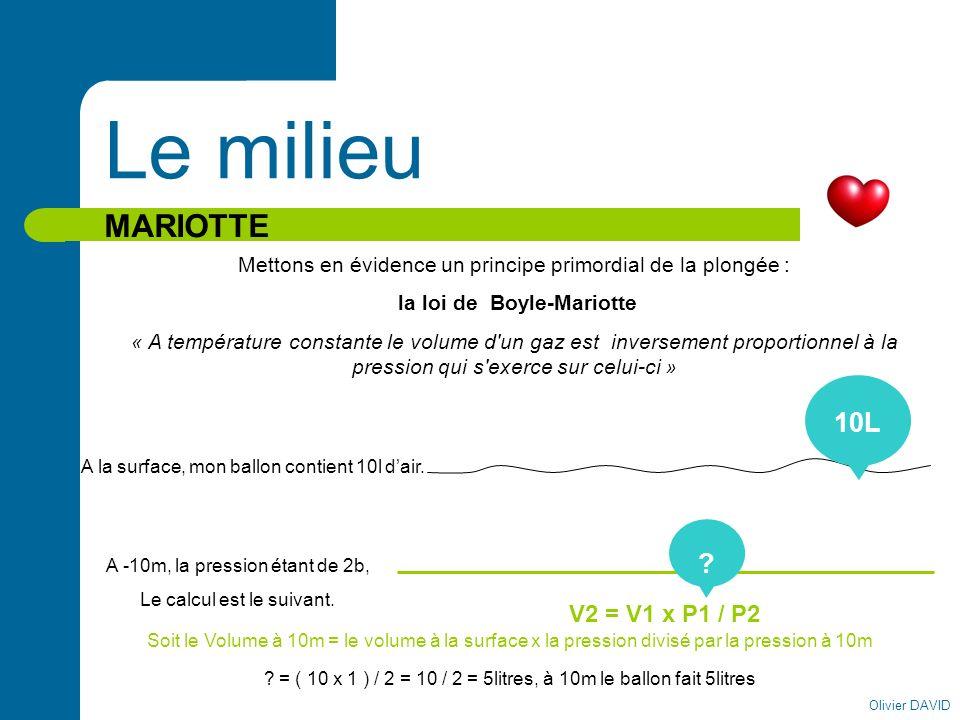 Olivier DAVID Le milieu MARIOTTE Mettons en évidence un principe primordial de la plongée : la loi de Boyle-Mariotte « A température constante le volu