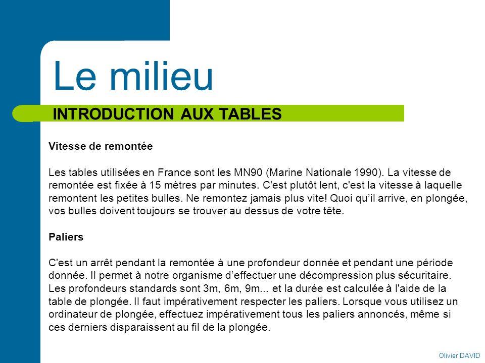 Olivier DAVID Le milieu INTRODUCTION AUX TABLES Vitesse de remontée Les tables utilisées en France sont les MN90 (Marine Nationale 1990). La vitesse d