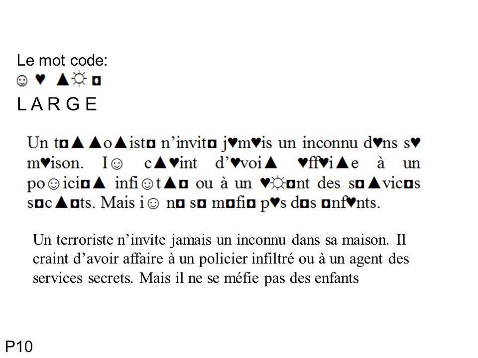 Le mot code: L A R G E Un terroriste ninvite jamais un inconnu dans sa maison.
