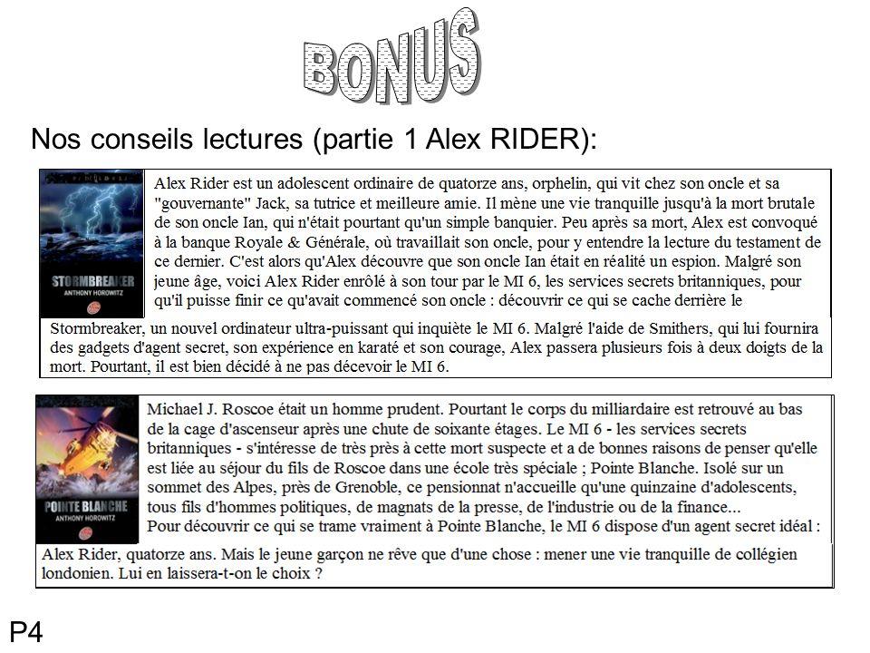 Nos conseils lectures (partie 1 Alex RIDER): P4