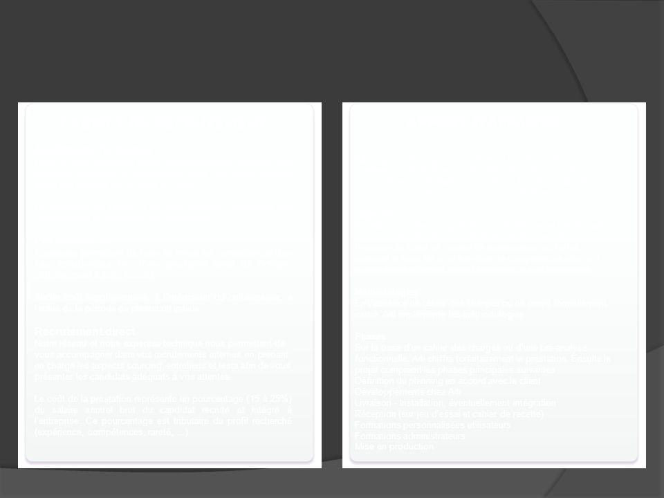 Modes dintervention CABINET DE RECRUTEMENT Assistance Technique : Dans le cadre de projets précis, nos intervenants apportent leur expertise technique et fonctionnelle pour une durée variable selon vos besoins (de 15 jours à 3 ans).