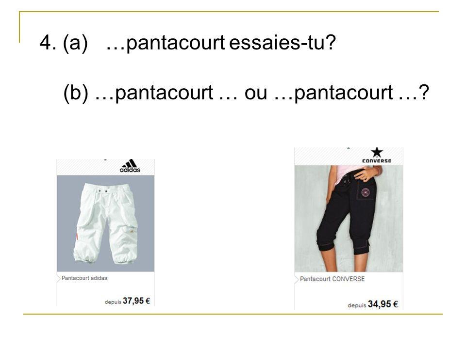 4. (a) …pantacourt essaies-tu (b) …pantacourt … ou …pantacourt …