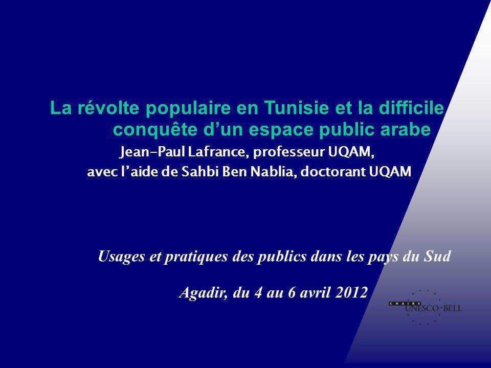 Usages et pratiques des publics dans les pays du Sud Agadir, du 4 au 6 avril 2012 Chaire UNESCO-Bell en communication et développement international L
