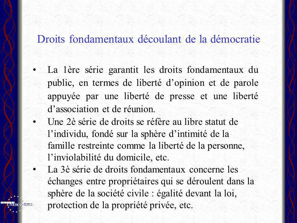 Droits fondamentaux découlant de la démocratie La 1ère série garantit les droits fondamentaux du public, en termes de liberté dopinion et de parole appuyée par une liberté de presse et une liberté dassociation et de réunion.