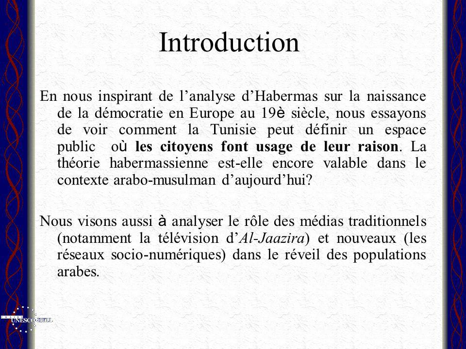 Introduction En nous inspirant de lanalyse dHabermas sur la naissance de la démocratie en Europe au 19 è siècle, nous essayons de voir comment la Tunisie peut définir un espace public o ù les citoyens font usage de leur raison.