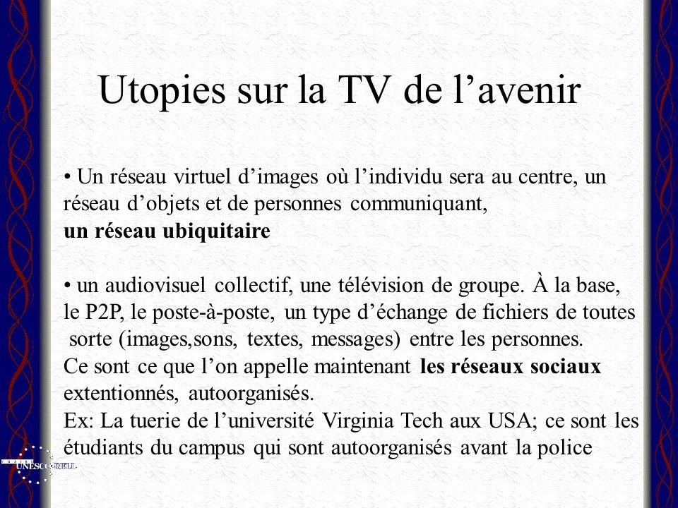 Utopies sur la TV de lavenir Un réseau virtuel dimages où lindividu sera au centre, un réseau dobjets et de personnes communiquant, un réseau ubiquitaire un audiovisuel collectif, une télévision de groupe.