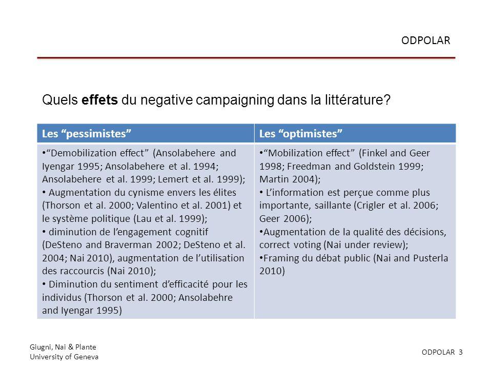 Giugni, Nai & Plante University of Geneva ODPOLAR 3 ODPOLAR Quels effets du negative campaigning dans la littérature.