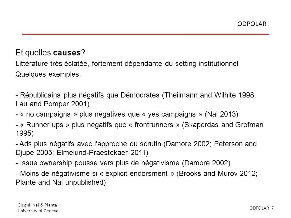 Giugni, Nai & Plante University of Geneva ODPOLAR 7 ODPOLAR Et quelles causes.