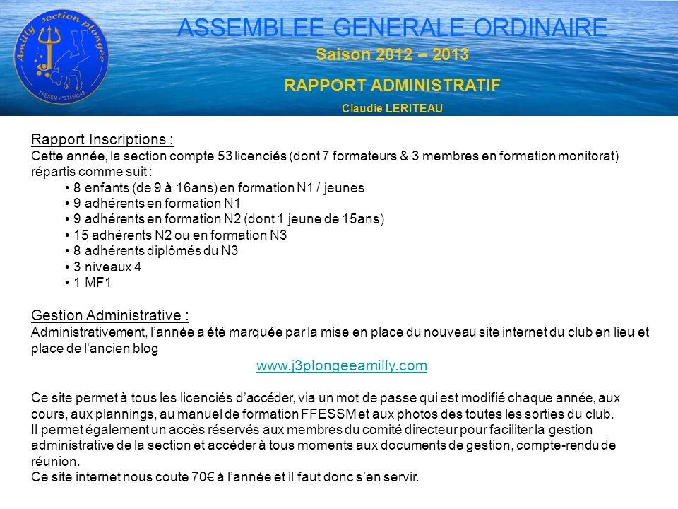 ASSEMBLEE GENERALE ORDINAIRE Saison 2012 – 2013 RAPPORT ADMINISTRATIF Claudie LERITEAU Rapport Inscriptions : Cette année, la section compte 53 licenc