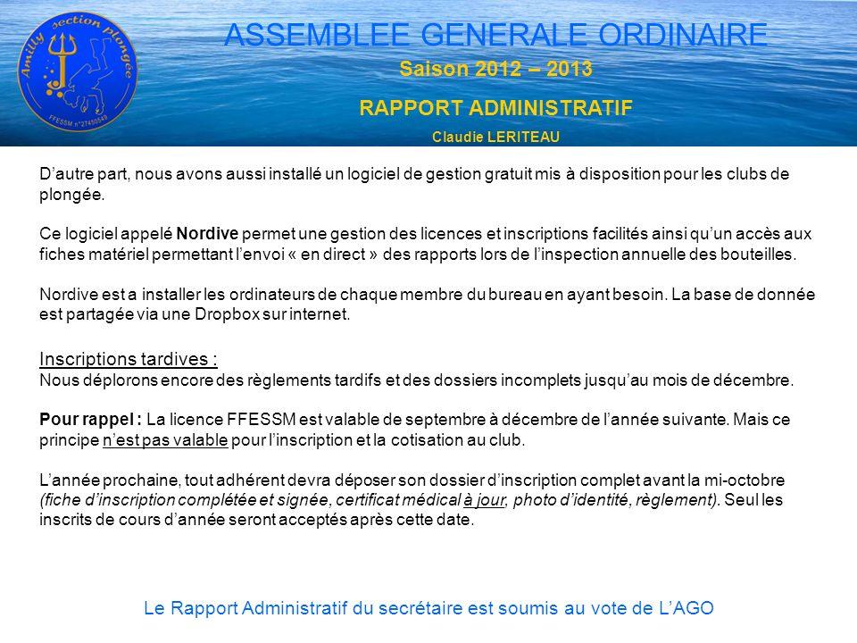ASSEMBLEE GENERALE ORDINAIRE Saison 2012 – 2013 RAPPORT ADMINISTRATIF Claudie LERITEAU Le Rapport Administratif du secrétaire est soumis au vote de LA