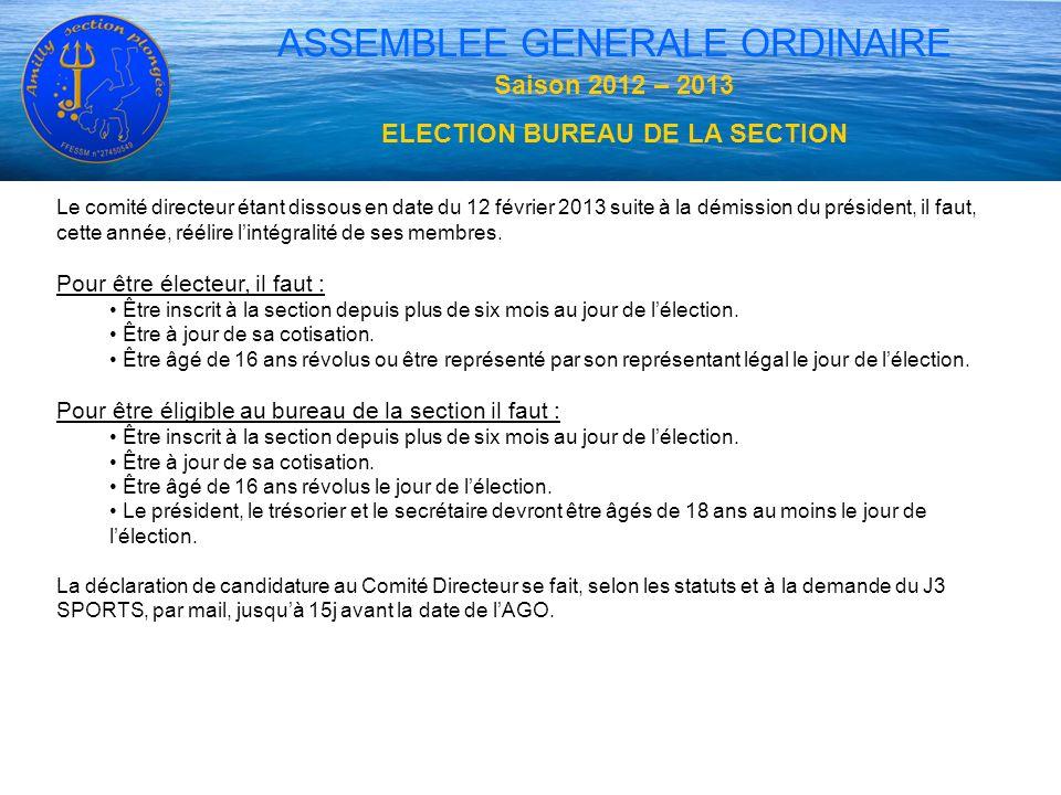 ASSEMBLEE GENERALE ORDINAIRE Saison 2012 – 2013 ELECTION BUREAU DE LA SECTION Le comité directeur étant dissous en date du 12 février 2013 suite à la