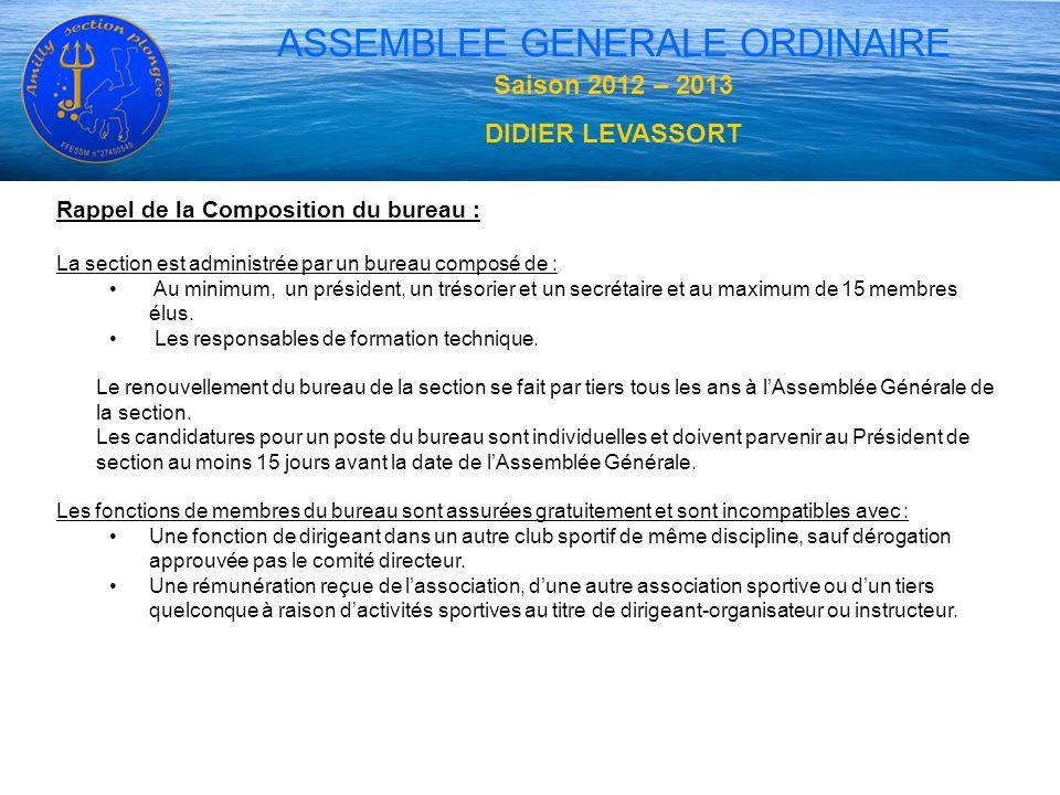 ASSEMBLEE GENERALE ORDINAIRE Rappel de la Composition du bureau : La section est administrée par un bureau composé de : Au minimum, un président, un t