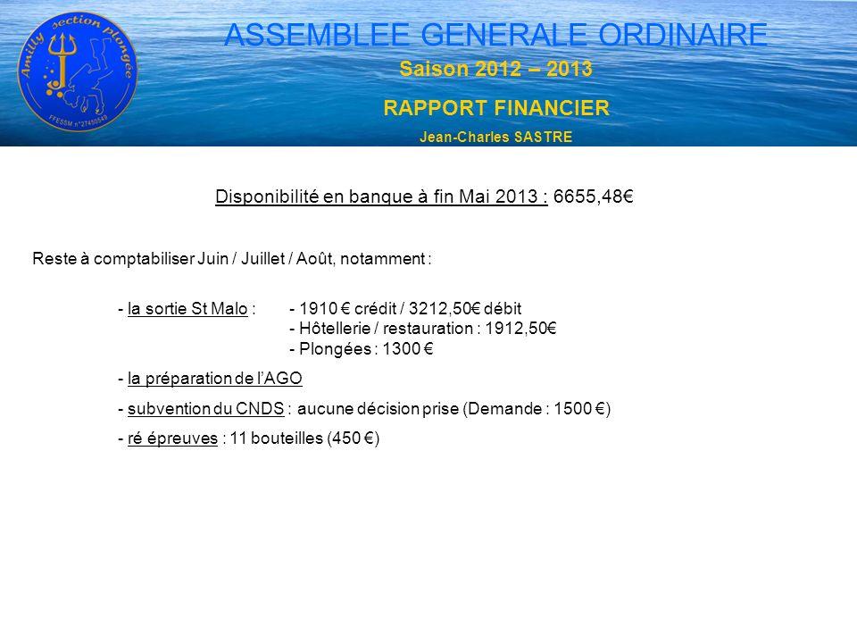 Saison 2012 – 2013 RAPPORT FINANCIER Jean-Charles SASTRE ASSEMBLEE GENERALE ORDINAIRE Disponibilité en banque à fin Mai 2013 : 6655,48 Reste à comptab