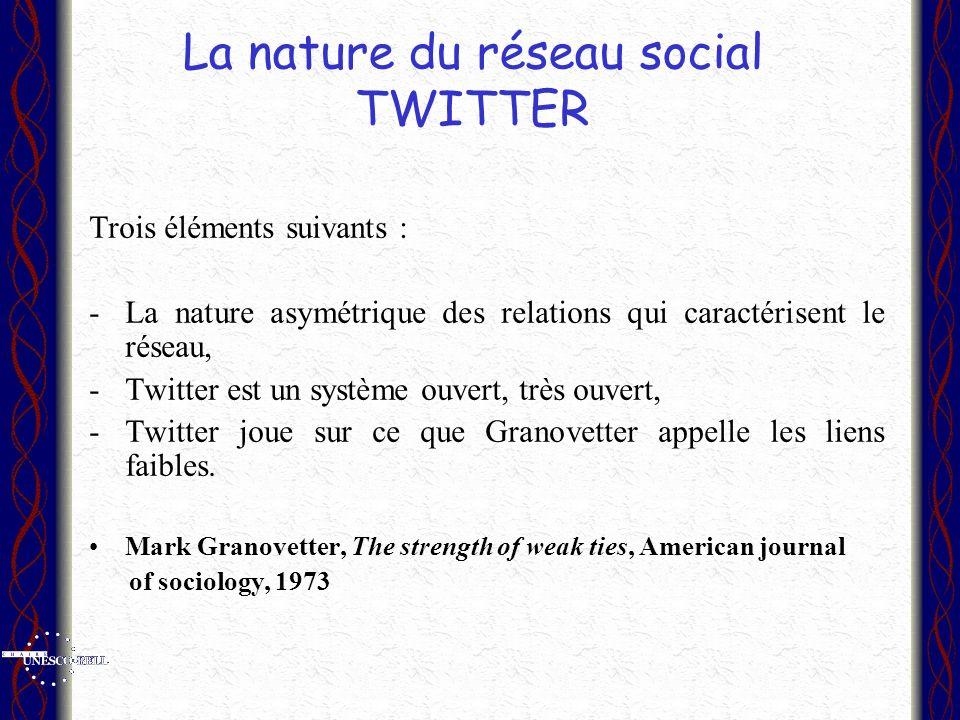 La nature du réseau social TWITTER Trois éléments suivants : -La nature asymétrique des relations qui caractérisent le réseau, -Twitter est un système ouvert, très ouvert, -Twitter joue sur ce que Granovetter appelle les liens faibles.