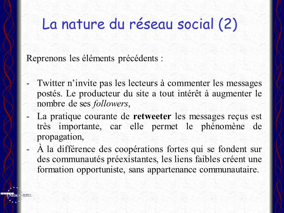 La nature du réseau social (2) Reprenons les éléments précédents : -Twitter ninvite pas les lecteurs à commenter les messages postés. Le producteur du