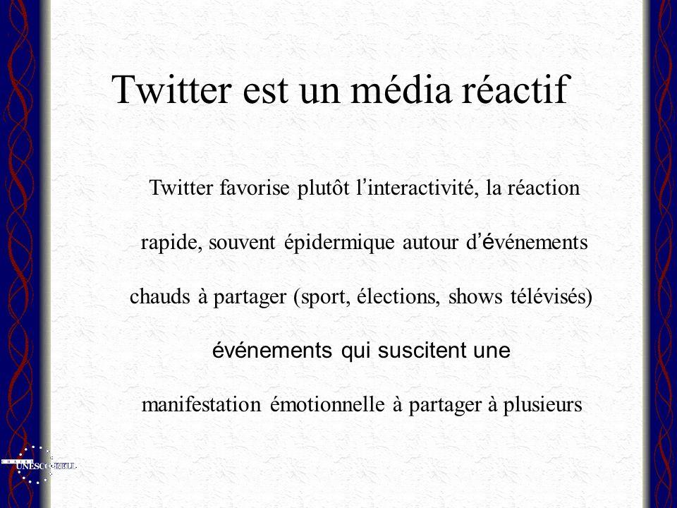 Twitter est un média réactif Twitter favorise plutôt l interactivité, la réaction rapide, souvent épidermique autour d é vénements chauds à partager (sport, élections, shows télévisés) événements qui suscitent une manifestation émotionnelle à partager à plusieurs