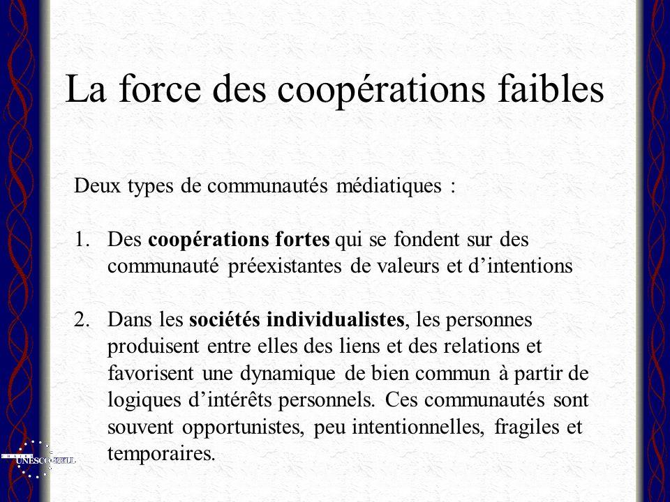La force des coopérations faibles Deux types de communautés médiatiques : 1.Des coopérations fortes qui se fondent sur des communauté préexistantes de