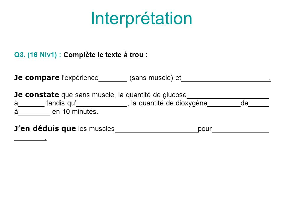 Interprétation Je compare lexpérience (sans muscle) et.
