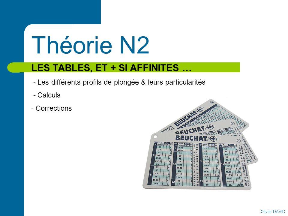 Olivier DAVID Théorie N2 LES TABLES, ET + SI AFFINITES … - Les différents profils de plongée & leurs particularités - Calculs - Corrections