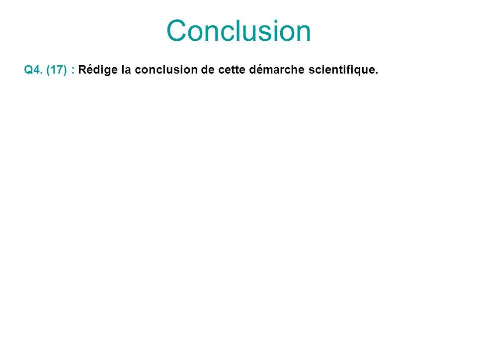 Conclusion Q4. (17) : Rédige la conclusion de cette démarche scientifique.