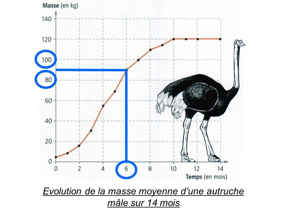 Méthode 4 : Lire et interpréter un graphique Et voici un exemple dénoncé : Combien pèse une autruche mâle à 6 mois .
