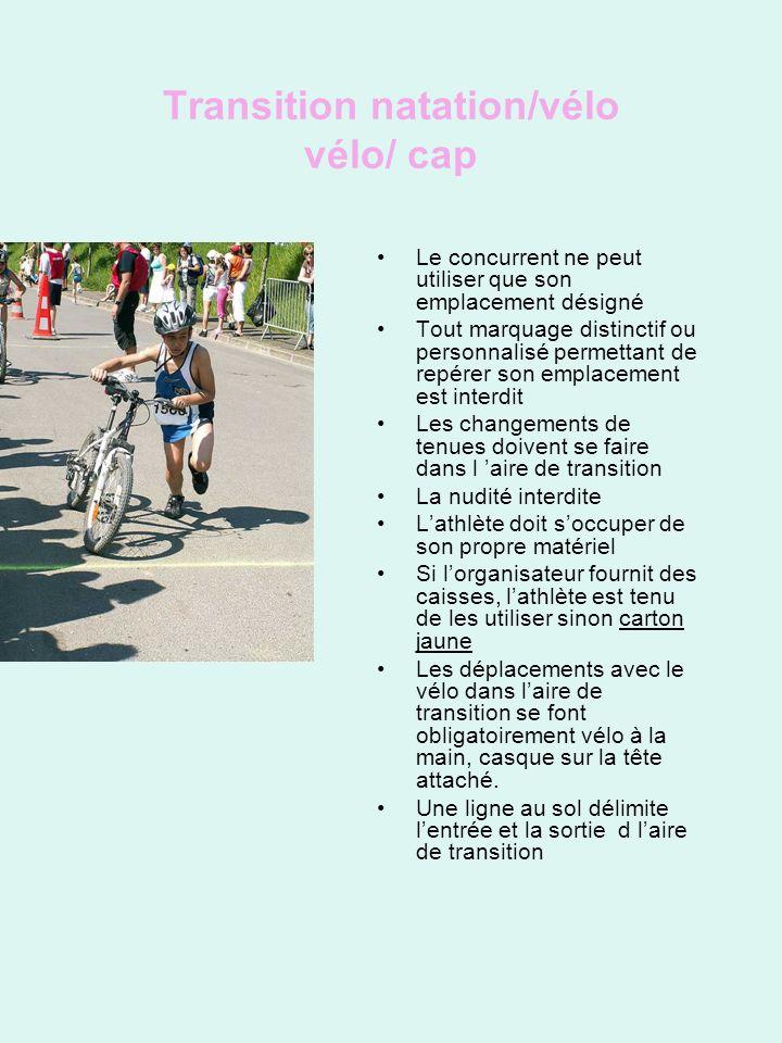 Transition natation/vélo vélo/ cap Le concurrent ne peut utiliser que son emplacement désigné Tout marquage distinctif ou personnalisé permettant de repérer son emplacement est interdit Les changements de tenues doivent se faire dans l aire de transition La nudité interdite Lathlète doit soccuper de son propre matériel Si lorganisateur fournit des caisses, lathlète est tenu de les utiliser sinon carton jaune Les déplacements avec le vélo dans laire de transition se font obligatoirement vélo à la main, casque sur la tête attaché.