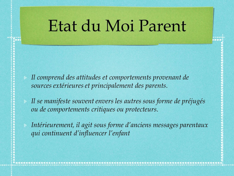 Etat du Moi Parent Il comprend des attitudes et comportements provenant de sources extérieures et principalement des parents.