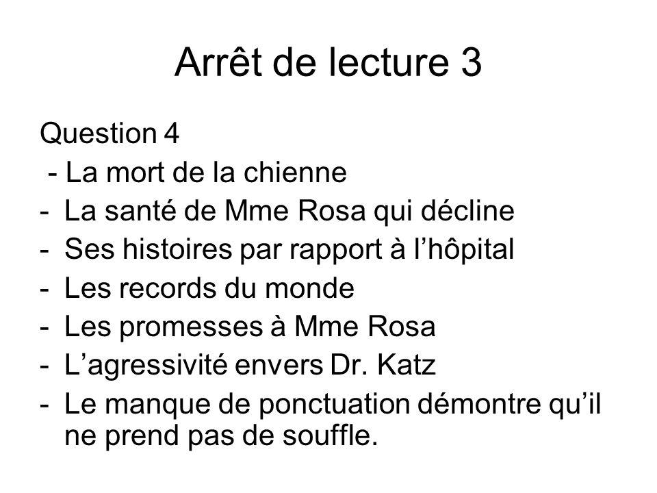 Arrêt de lecture 3 Question 4 - La mort de la chienne -La santé de Mme Rosa qui décline -Ses histoires par rapport à lhôpital -Les records du monde -L