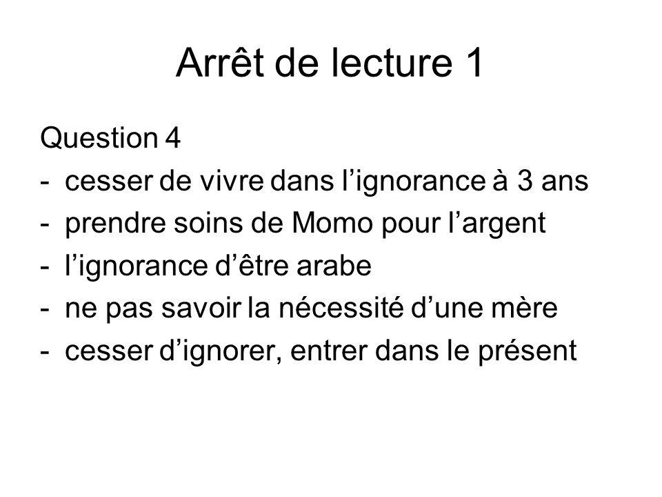 Arrêt de lecture 1 Question 4 - cesser de vivre dans lignorance à 3 ans -prendre soins de Momo pour largent -lignorance dêtre arabe -ne pas savoir la