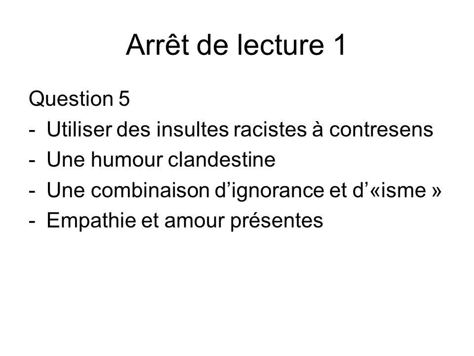 Arrêt de lecture 1 Question 5 -Utiliser des insultes racistes à contresens -Une humour clandestine -Une combinaison dignorance et d«isme » -Empathie e