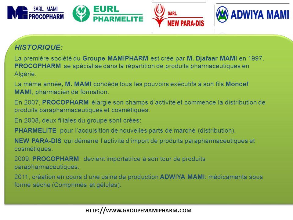 HISTORIQUE: La première société du Groupe MAMIPHARM est crée par M. Djafaar MAMI en 1997. PROCOPHARM se spécialise dans la répartition de produits pha