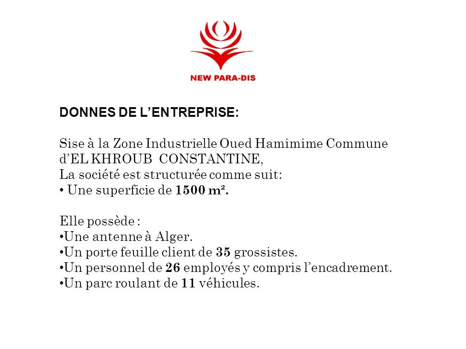 DONNES DE LENTREPRISE: Sise à la Zone Industrielle Oued Hamimime Commune dEL KHROUB CONSTANTINE, La société est structurée comme suit: Une superficie