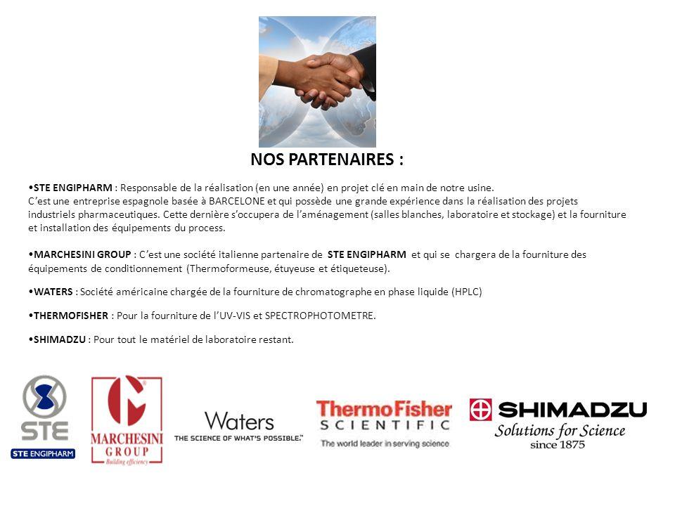 NOS PARTENAIRES : STE ENGIPHARM : Responsable de la réalisation (en une année) en projet clé en main de notre usine. Cest une entreprise espagnole bas