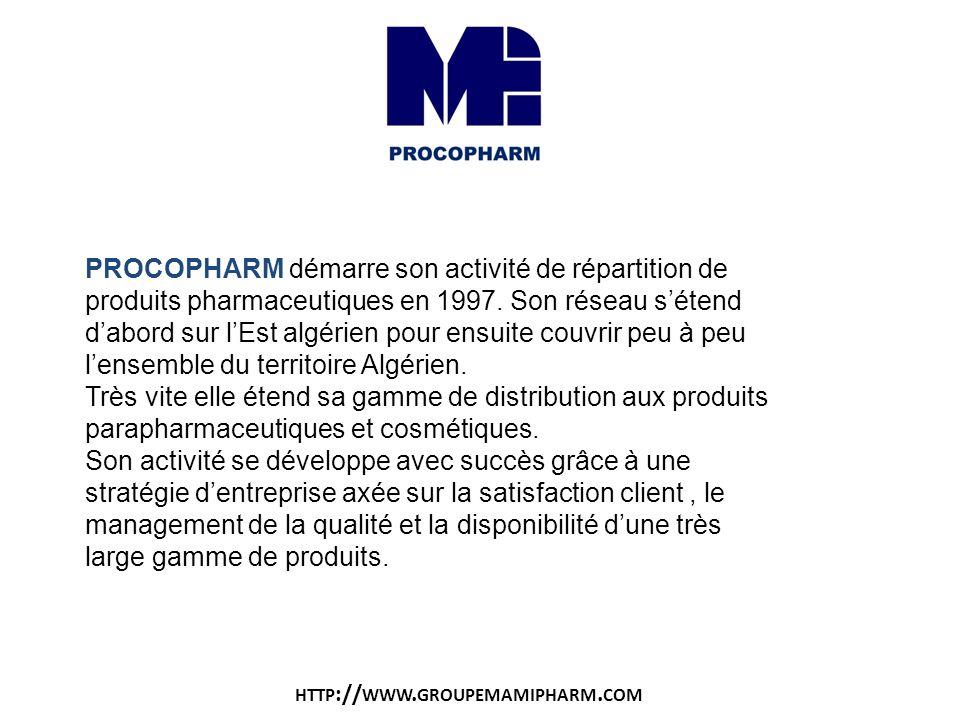 PROCOPHARM démarre son activité de répartition de produits pharmaceutiques en 1997. Son réseau sétend dabord sur lEst algérien pour ensuite couvrir pe