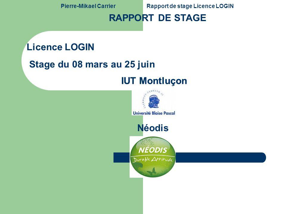 Pierre-Mikael CarrierRapport de stage Licence LOGIN Mardi 29 juin 2010 2 Sommaire 1.Introduction 2.Présentation Néodis 3.Problématique de stage 4.Planification du projet Etude de lexistant Développement Modélisation UML 5.Conclusion