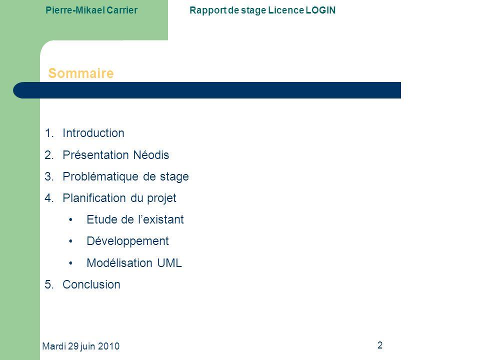 Pierre-Mikael CarrierRapport de stage Licence LOGIN Mardi 29 juin 2010 13 Regrouper les données et les caractériser avec leurs types et noms par grandes familles.