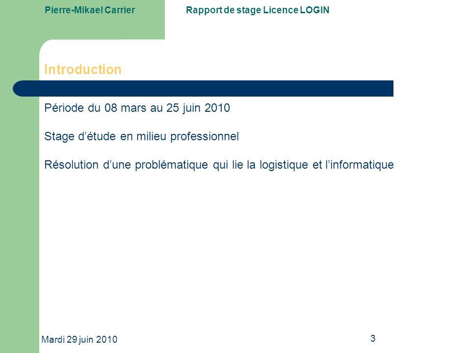 Pierre-Mikael CarrierRapport de stage Licence LOGIN Mardi 29 juin 2010 14 ACCESS Construction du MCD Modèle Conceptuel de Données Schématiser lorganisation des données et leur attribuer un sens.