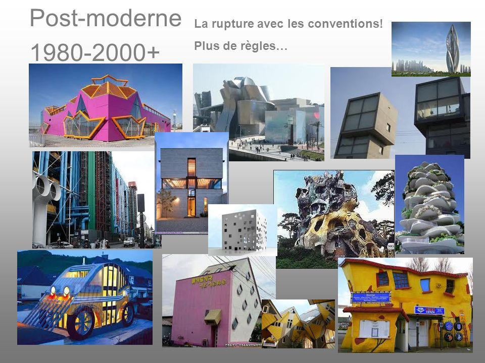Post-moderne 1980-2000+ La rupture avec les conventions! Plus de règles…