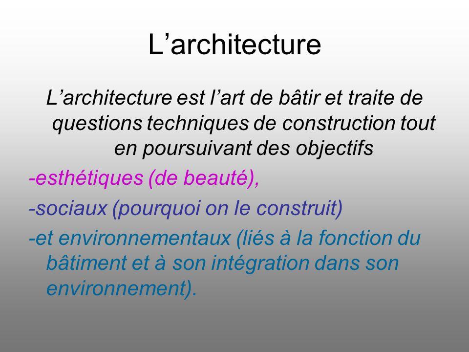 Larchitecture est lart de bâtir et traite de questions techniques de construction tout en poursuivant des objectifs -esthétiques (de beauté), -sociaux